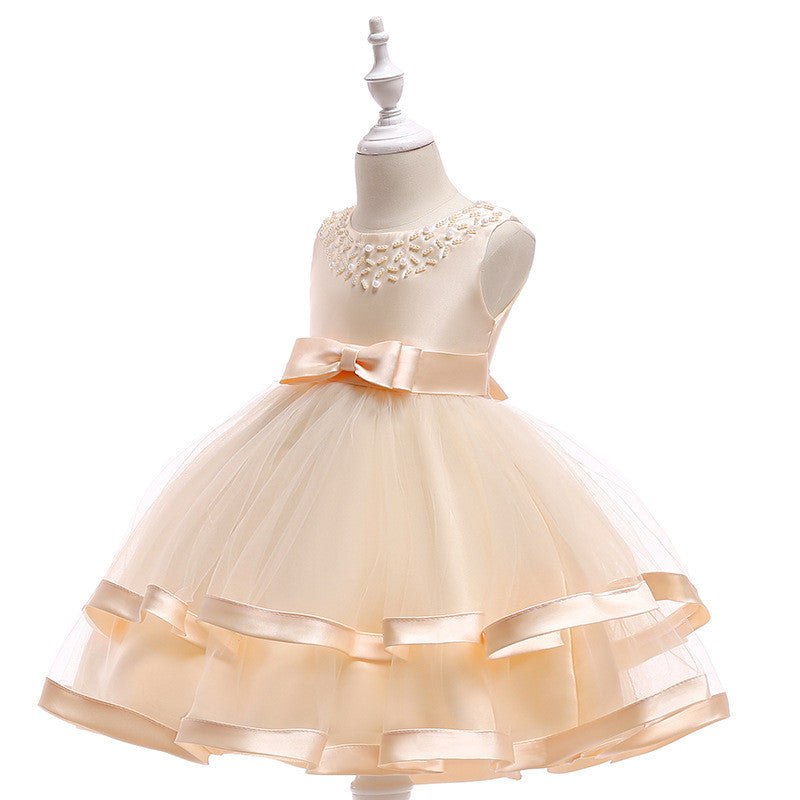 kid's party dress--110cm-150cm--beads--champagne--L5017