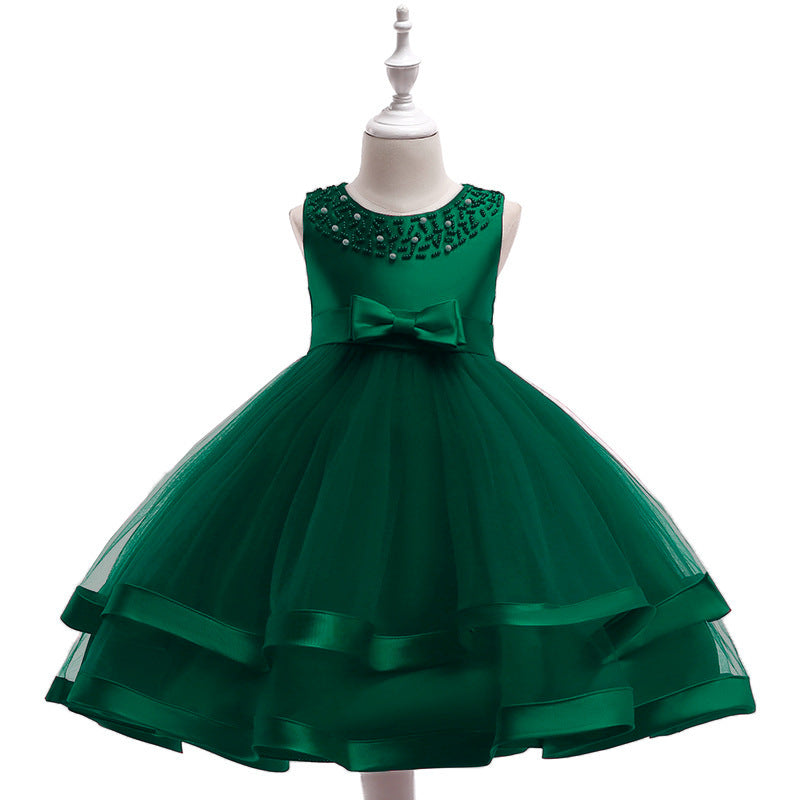 kid's party dress--110cm-150cm--beads--green--L5017