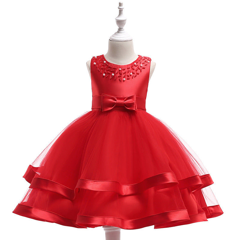 kid's party dress--110cm-150cm--beads--red--L5017