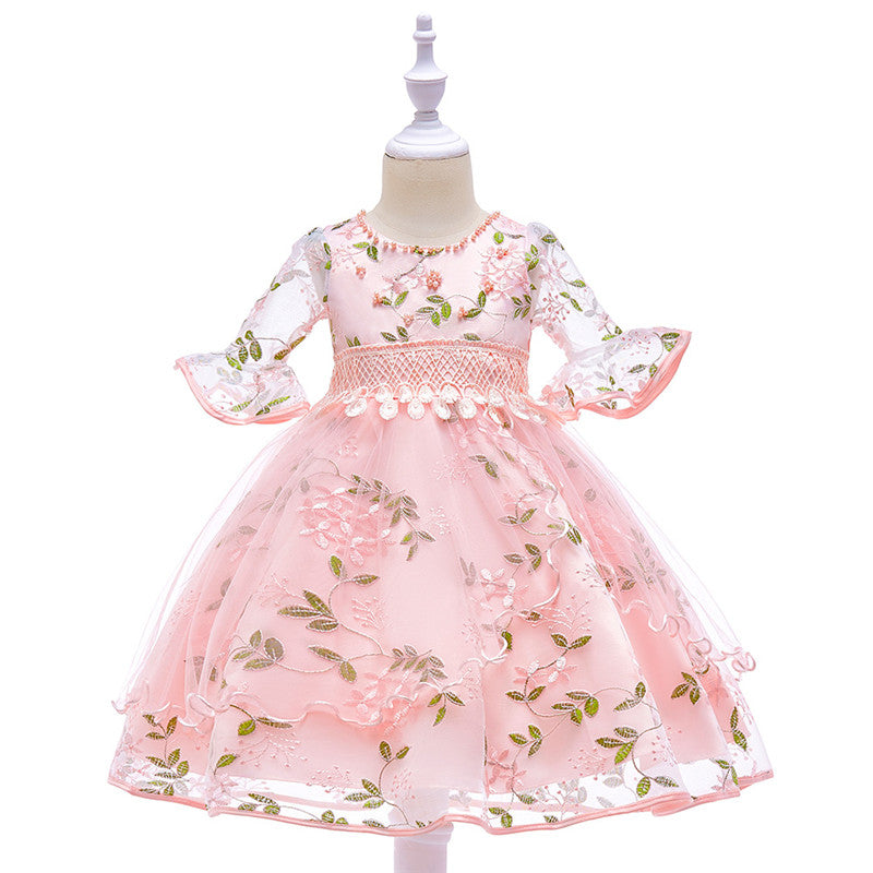 kid's party dress--110cm-150cm--embroidered flower--pink--L5015