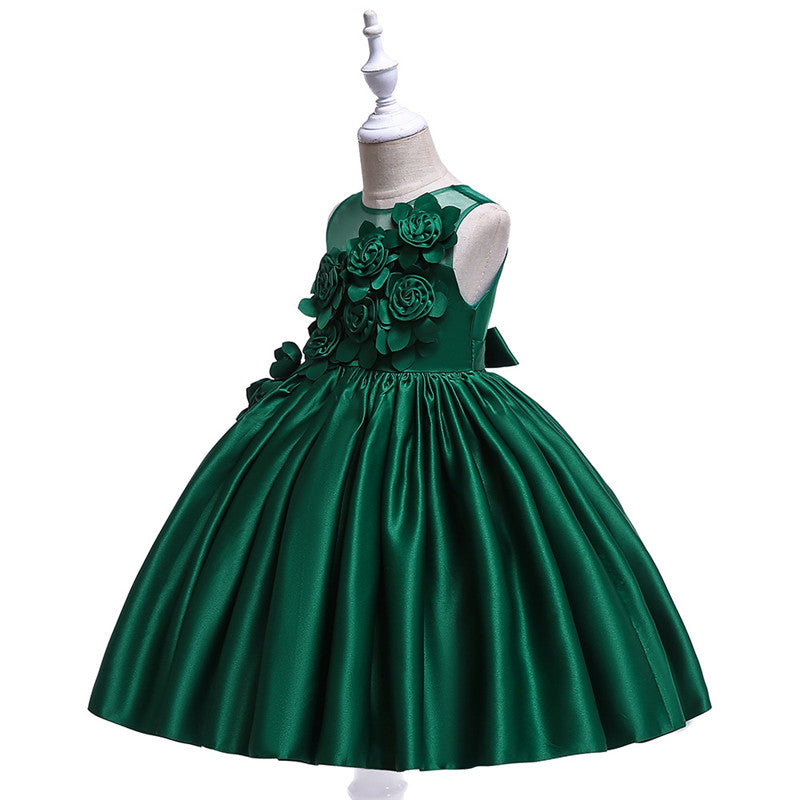kid's party dress--3-8 years old--3D flower--green--L5068