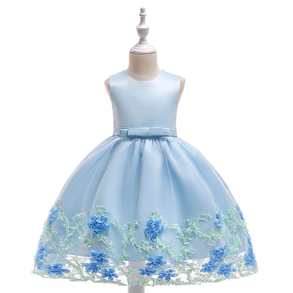 kid's party dress--height 100cm-150cm--embroidered 3D flower--light blue--L1845