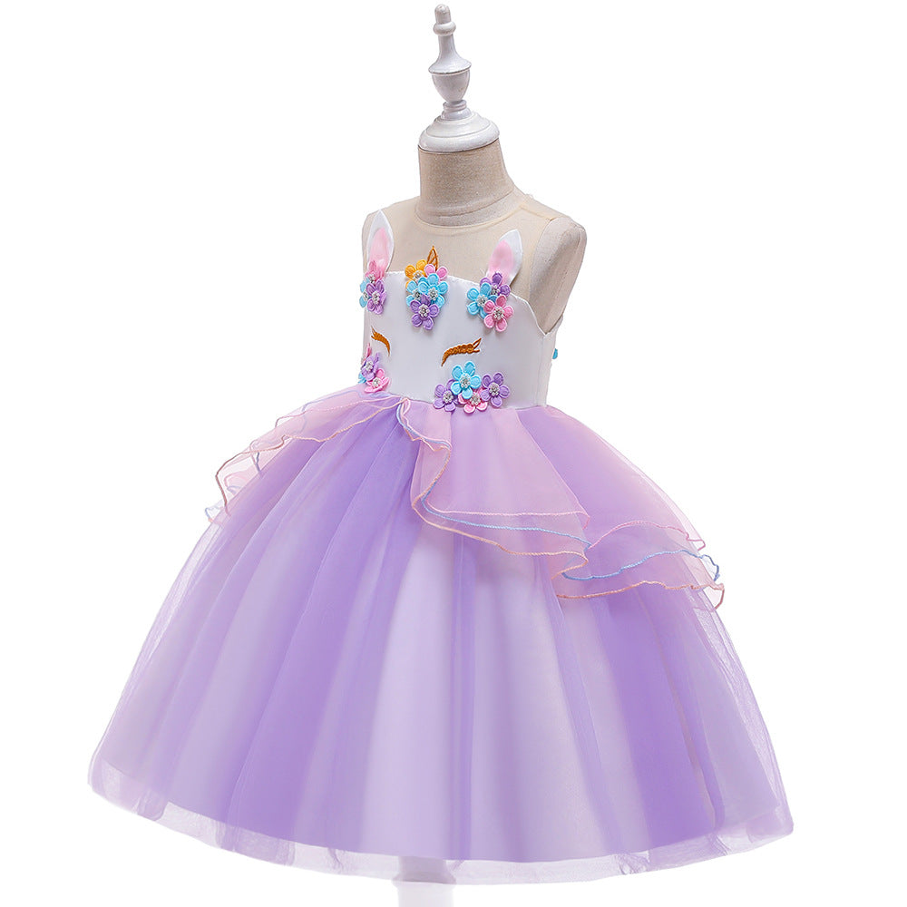 kid's party dress--height 110cm-150cm--unicorn--purple--DJS006