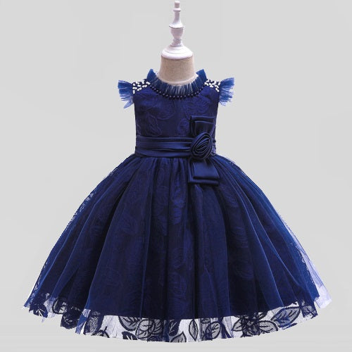 kid's party dress--height 110-150cm--lace flower--navy blue--L5121