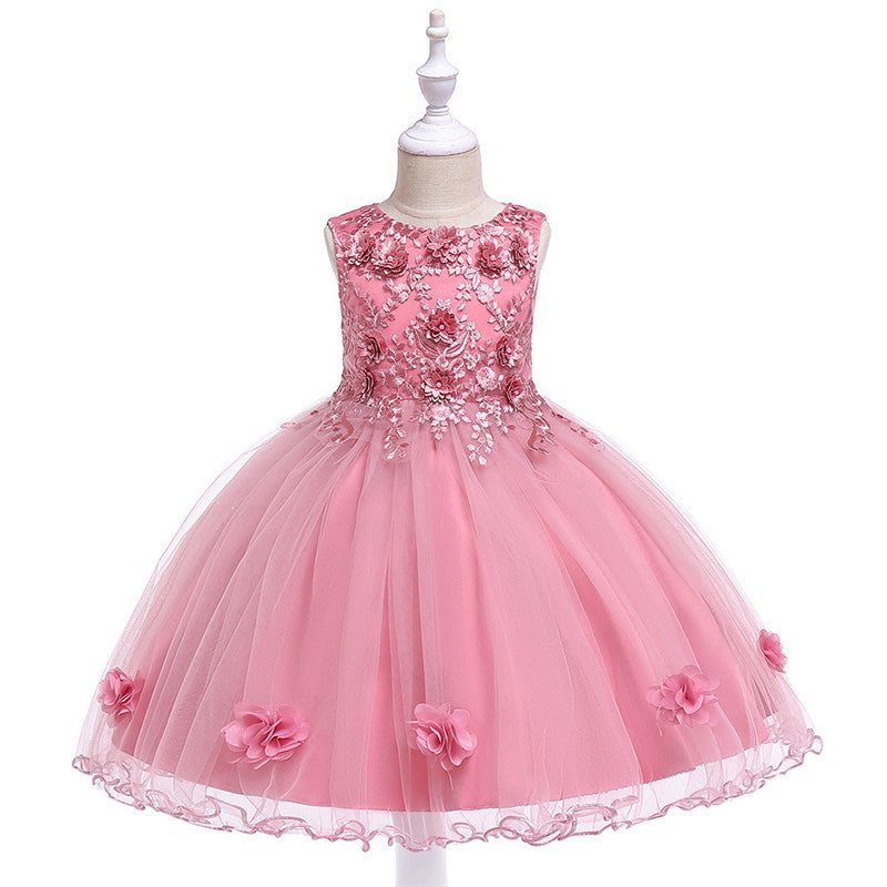 kid's party dress--height 110cm-150cm--3D embroidered flower--pink--L5061
