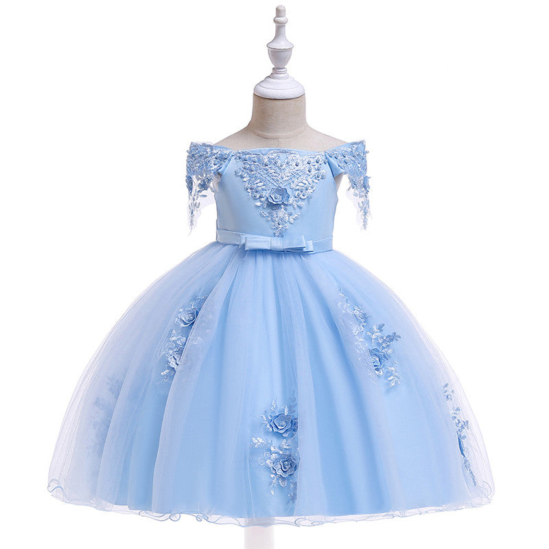 kid's party dress--height 110cm-150cm--3D flower beads--baby blue--L5057