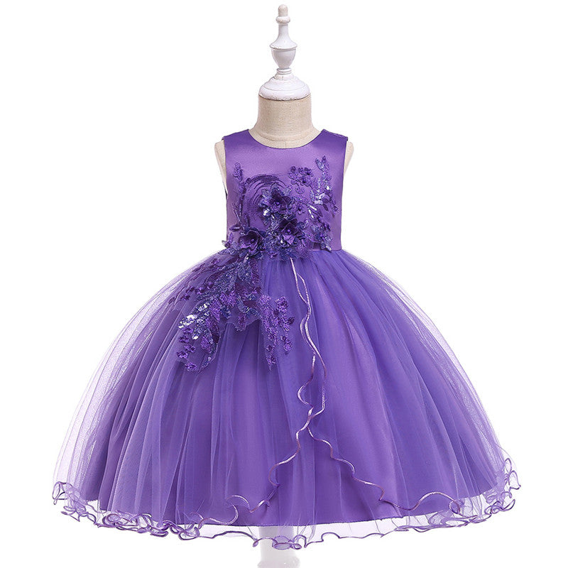 kid's party dress--height 110cm-150cm--3D flower sequins--violet--L5060