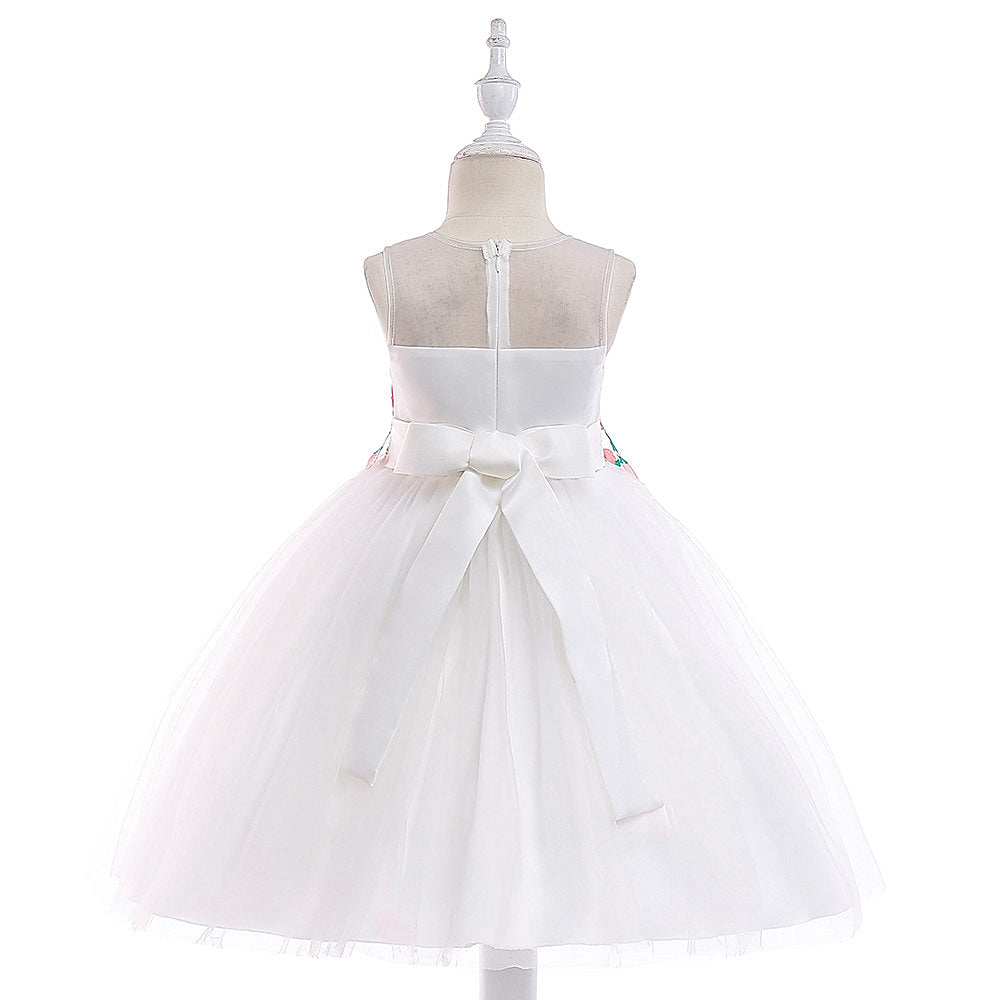 kid's party dress--height 110cm-150cm--embroidered flower--white--L5038