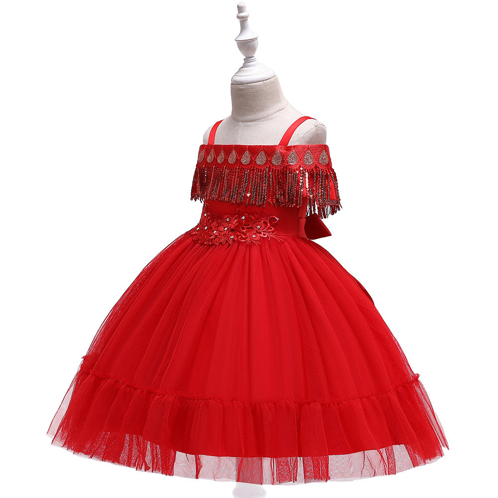 kid's party dress--height 110cm-150cm--flower beads--red--L5048