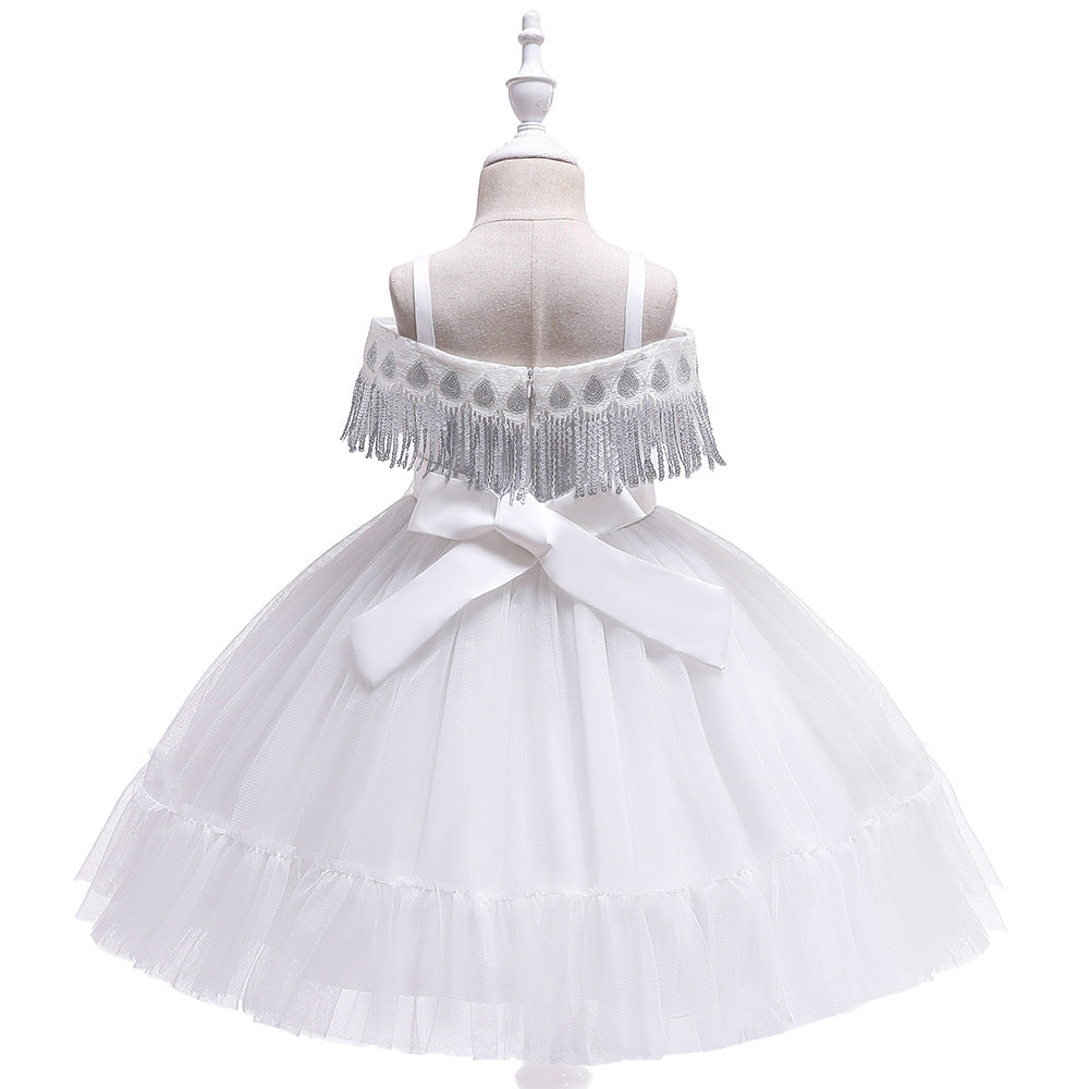kid's party dress--height 110cm-150cm--flower beads--white--L5048