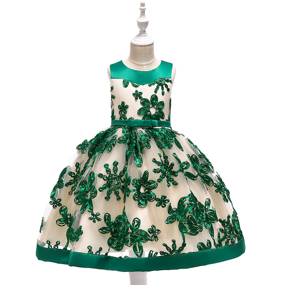 kid's party dress--height 110cm-150cm--flower-green--L5052