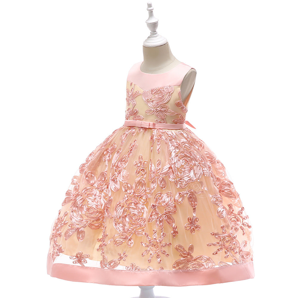 kid's party dress--height 110cm-150cm--flower-pink--L5052