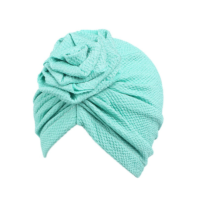 Kid's turban bonnet cap-- flower attached--5 colors JD-TJM-249K