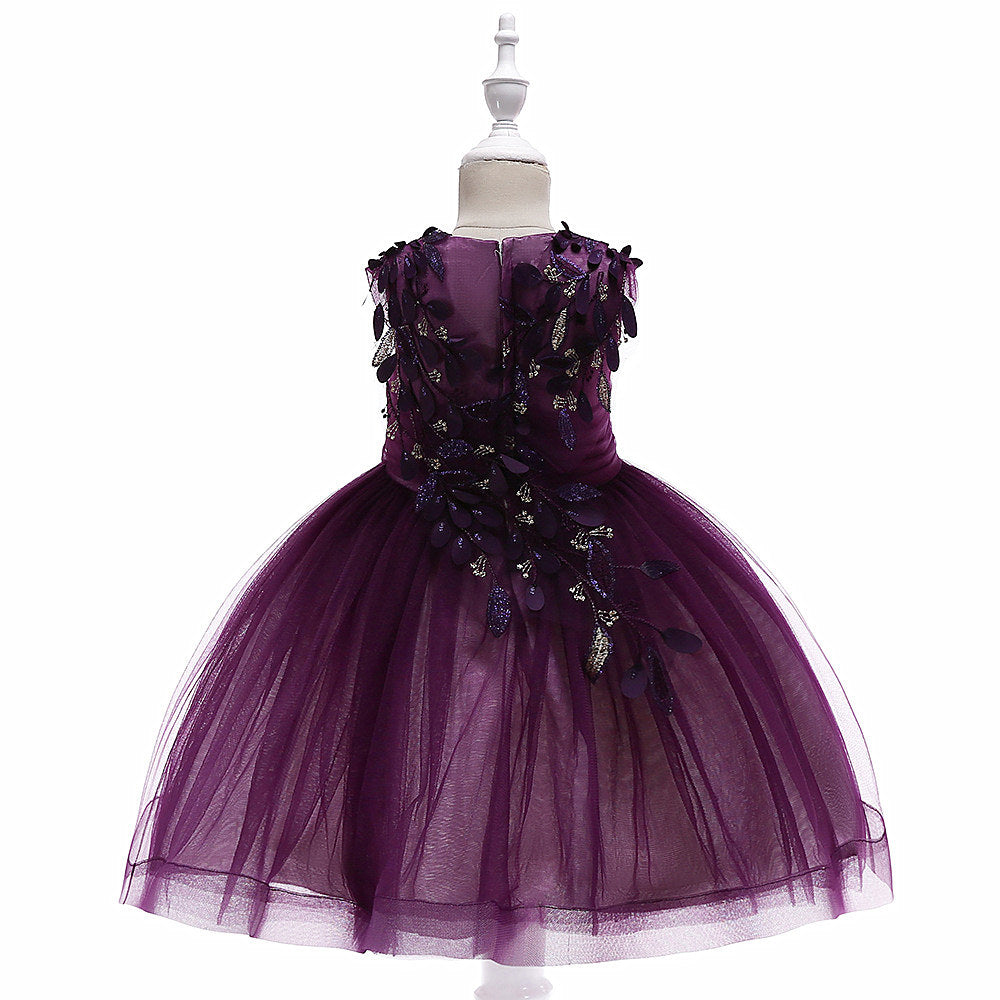 kids girl's party dress--height-100cm-150cm--3D leaves--purple--L5053