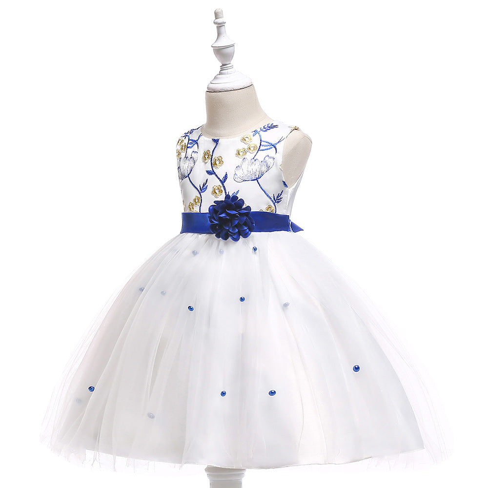 kids girl's party dress--height 110cm-150cm--embroidered flower--blue white--L5022