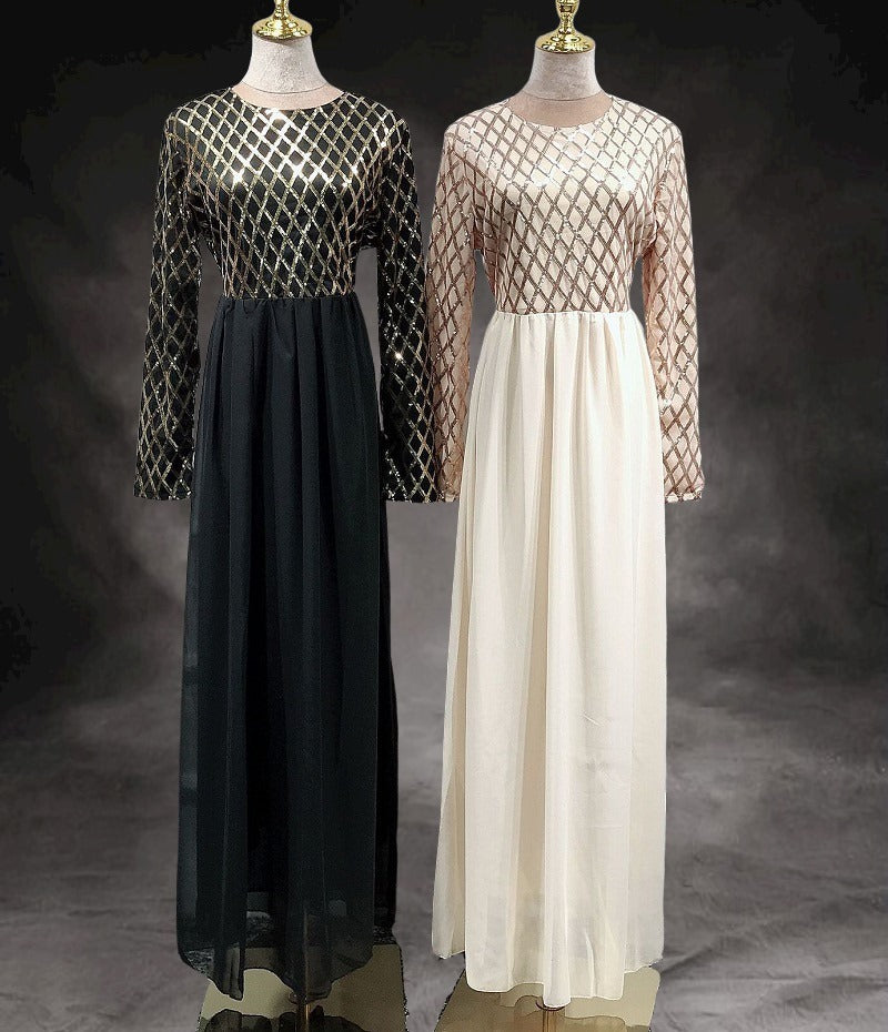 Black, beige--blingbling sequins--floor length--long sleeves--long fit party evening maxi dress LR296