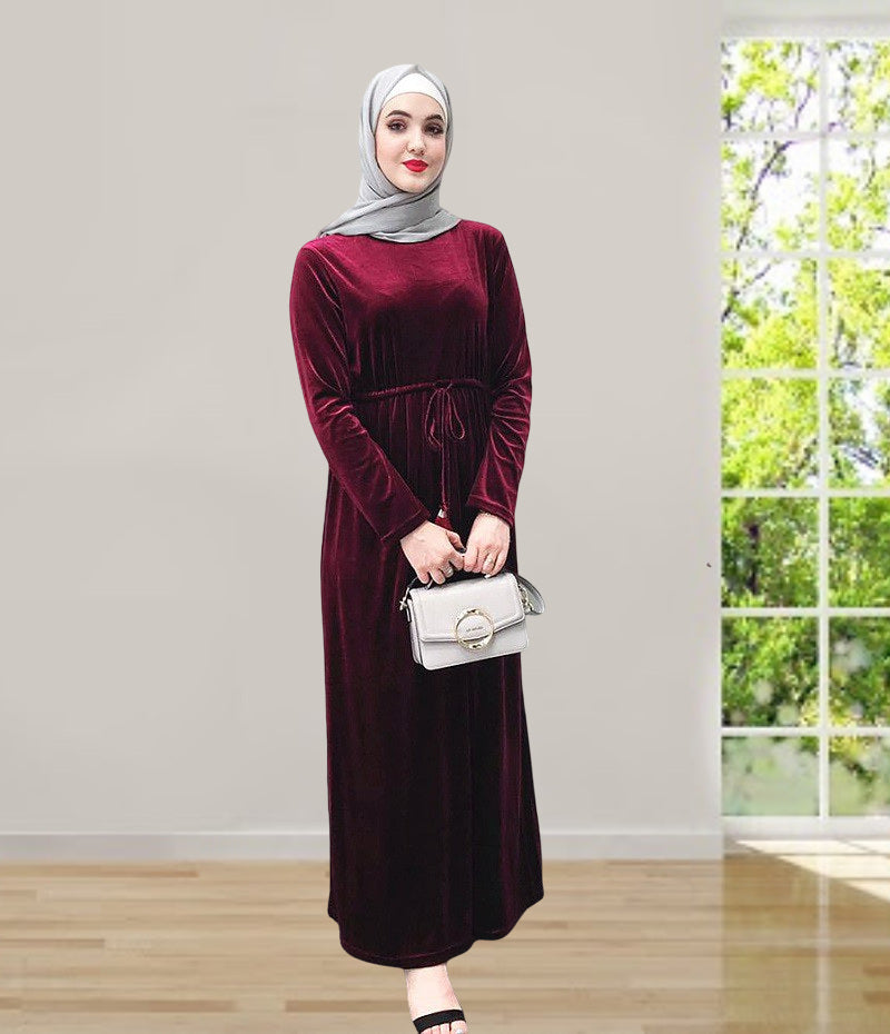 Muslim lady long maxi dress--3 colors--plain--floor length--long sleeves   LR228