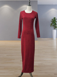 Lady women muslim--5 colors--plain--floor length--long sleeves--long fit sheath dress LR208