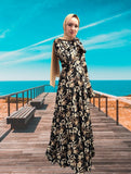 Muslim--black--printed flower--floor length--long sleeves--long maxi dress LR113