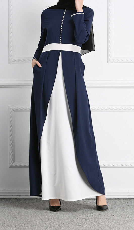 Muslim--navy blue--patchwork--floor length--long sleeves--long maxi dress LR103