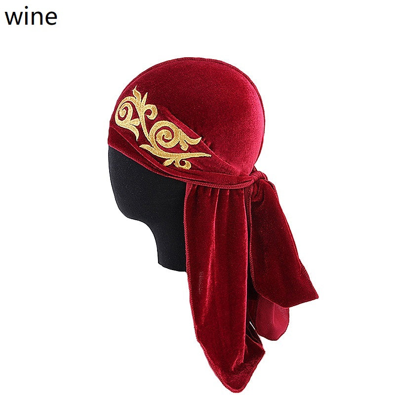 man women velvet du rag--flower embroidered--6 colors TJM-05X