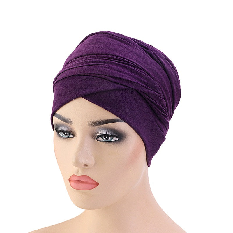 Mmuslim african women elastic cotton head scarf wrap turban-13 solid color JD-TJM-440