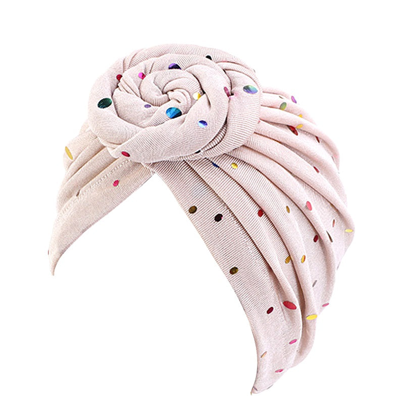 Muslim african women soft bonnet turban--high elastic chemo cap--dot printed--6 colors JD-TJM-450