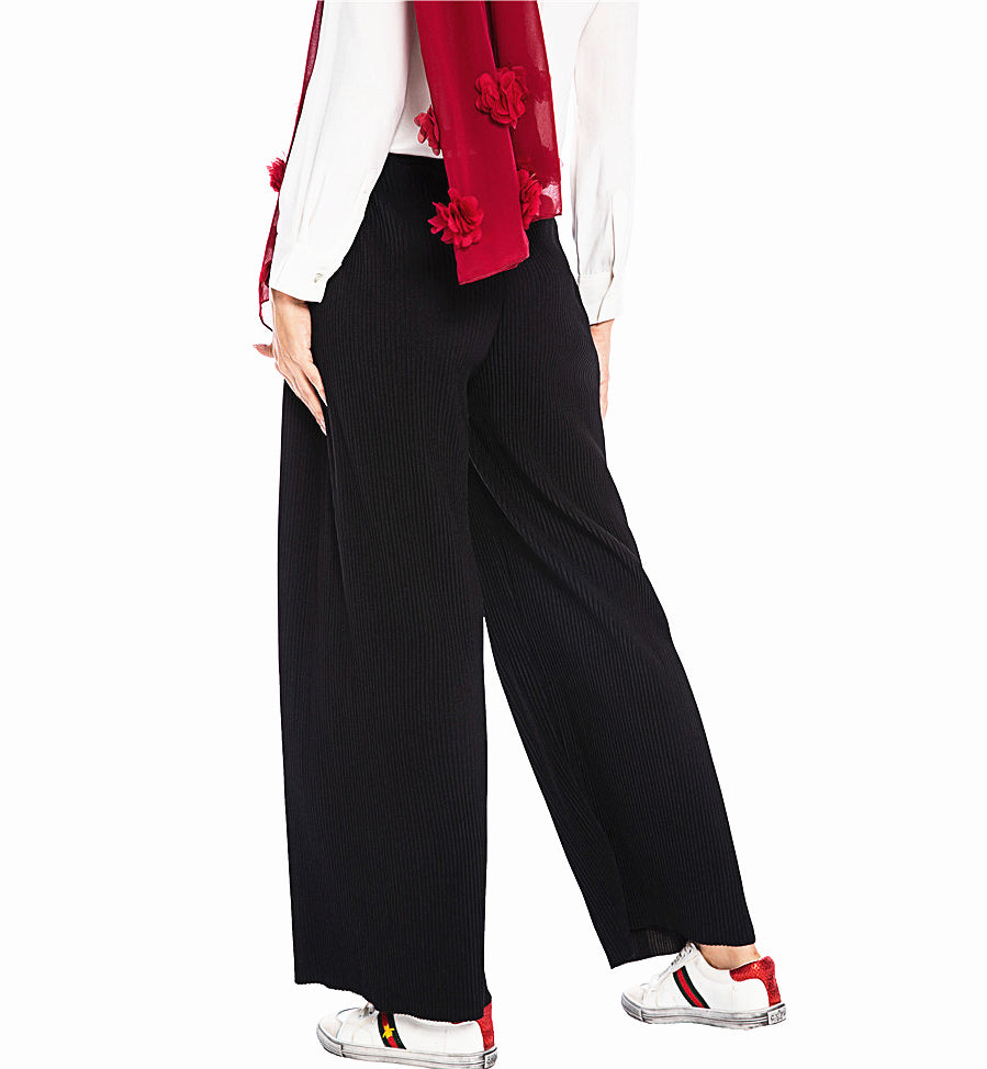 Muslim long black loose crushed pants--CHM-1909