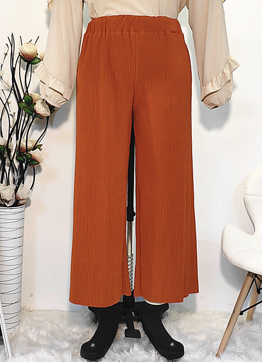 Muslim long brown loose crushed pants--CHM-1909