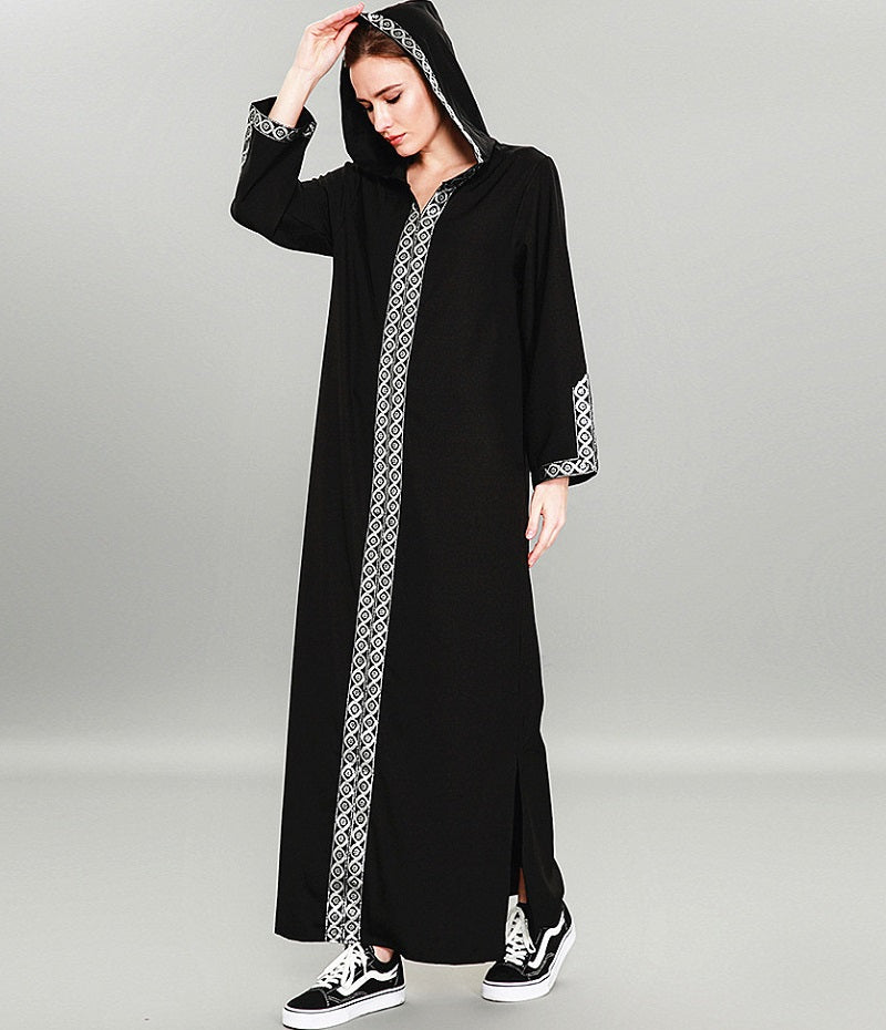 Muslim long sleeves black hoodie abaya--patchwork--CHM-9062