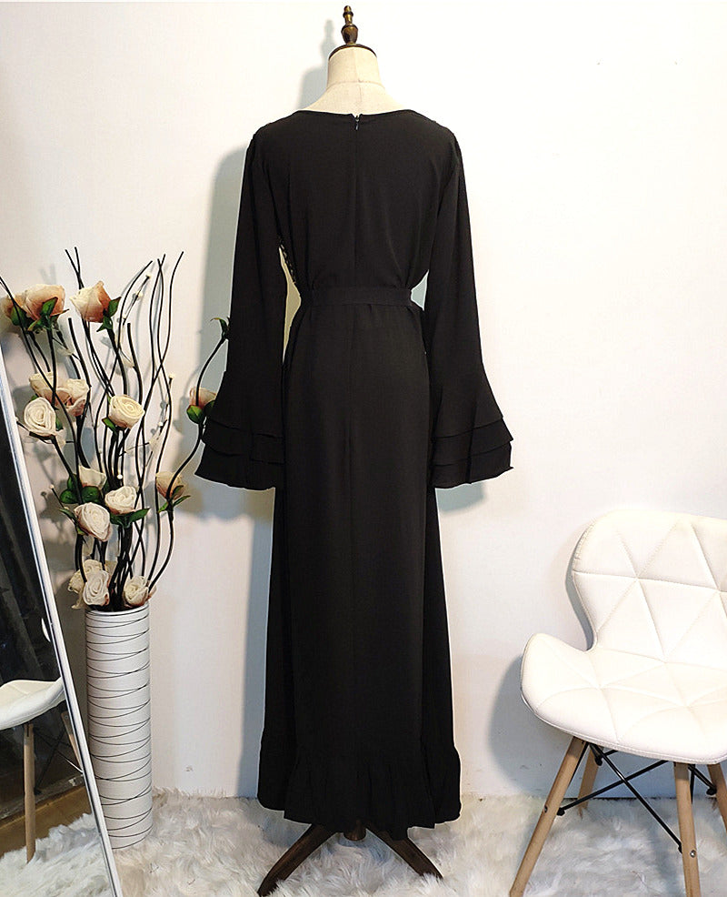 Muslim long sleeves-black party dress--blingbling sequins patchwork--CHM-6216