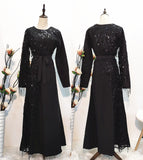 Muslim long sleeves black white party dress--blingbling sequins patchwork--CHM-6168