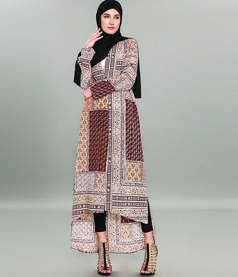Muslim long sleeves brown abaya--pattern printed--CHM-9051