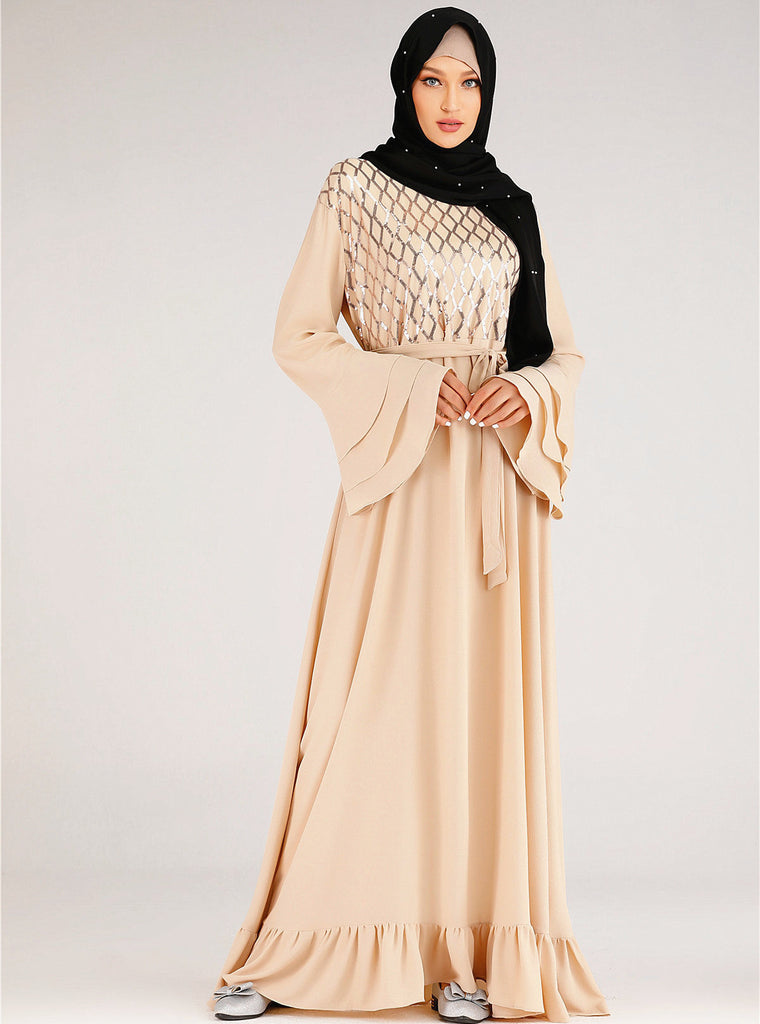 Muslim long sleeves-champagne party dress--blingbling sequins patchwork--CHM-6216