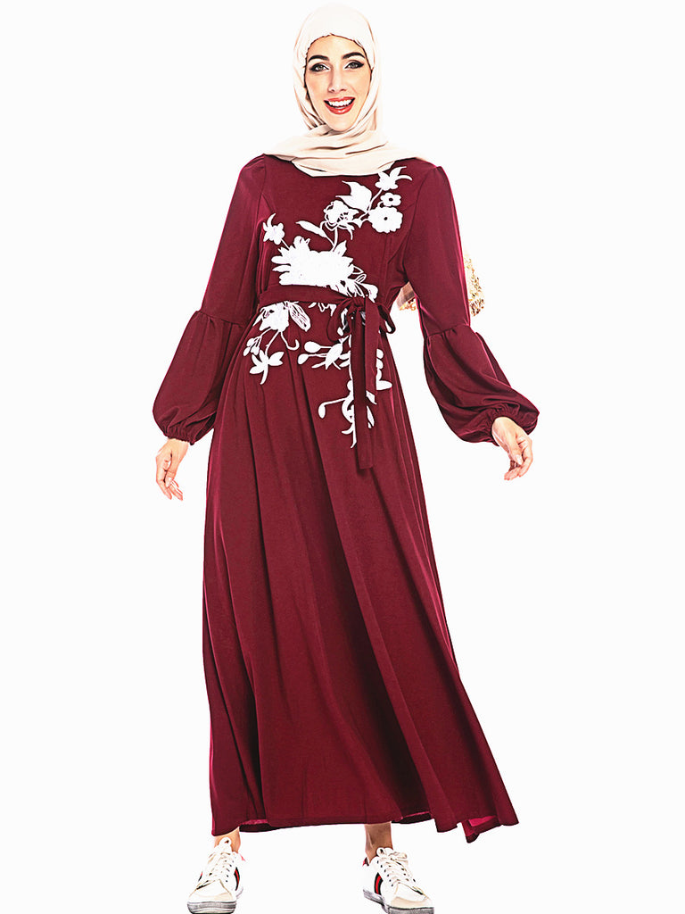 Muslim long sleeves red maxi dress--white embroidered flower--CHM-6214