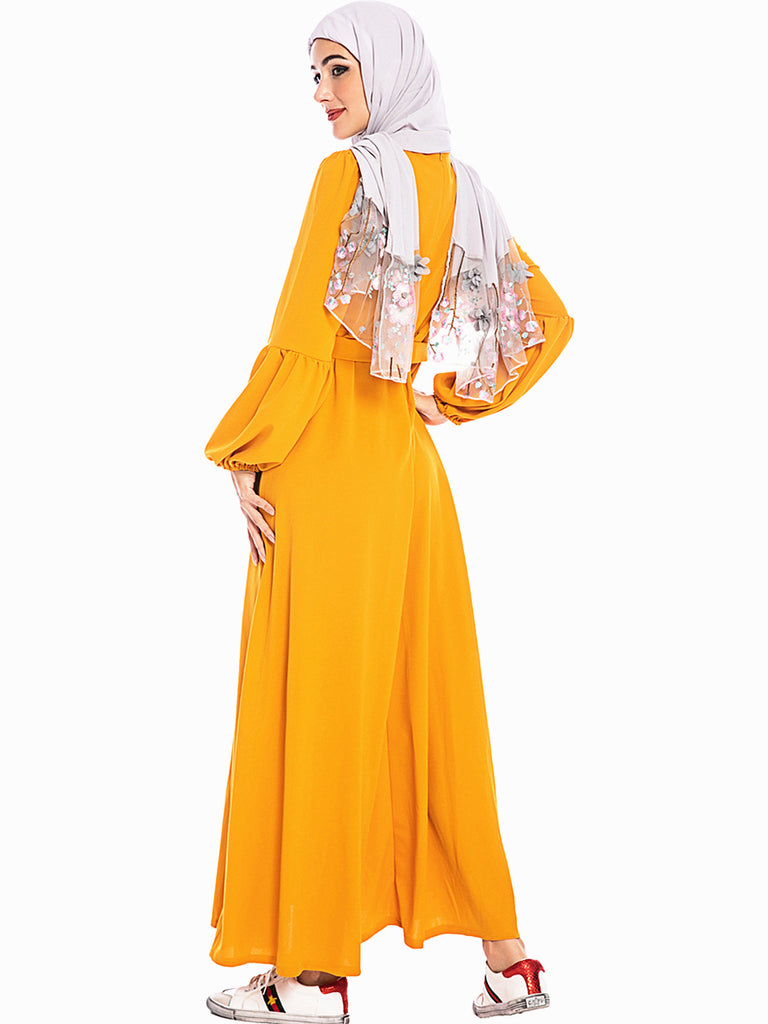 Muslim long sleeves yellow maxi dress--white embroidered flower--CHM-6214