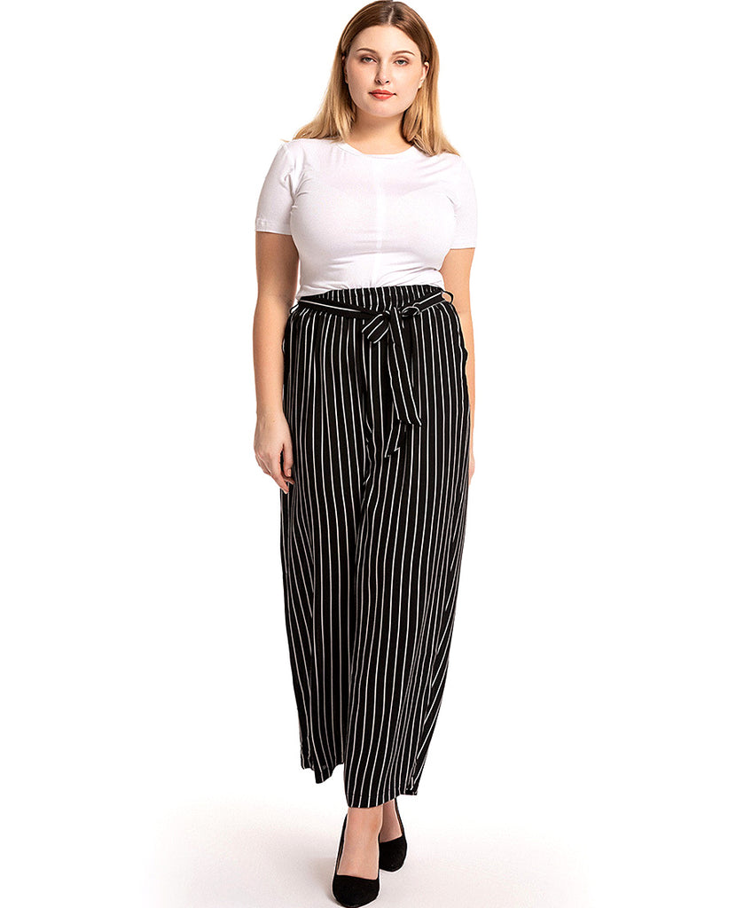 muslim women long loose-black strip pants--CHM-9003