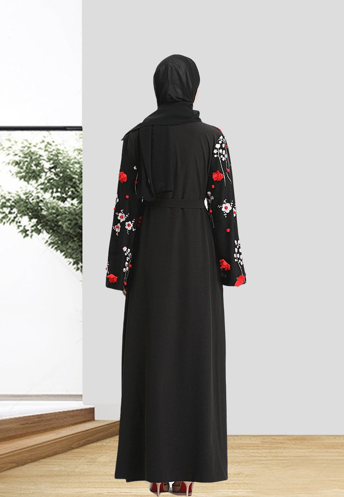 Muslim abaya long cardigan--4 colors--3D flower embroidery  LAY-LR160