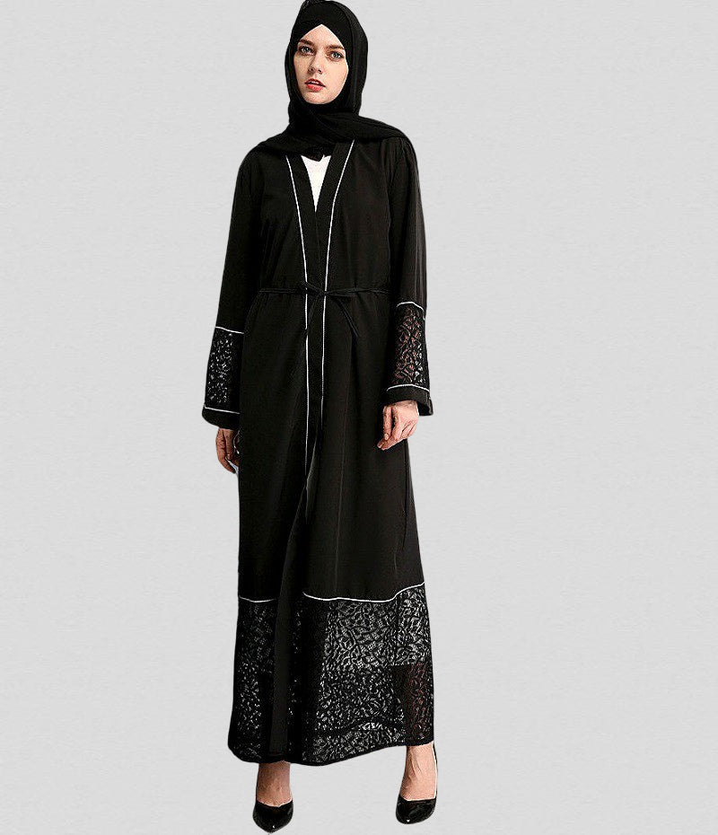 Muslim abaya long cardigan--black--embroidery LAY-LR07