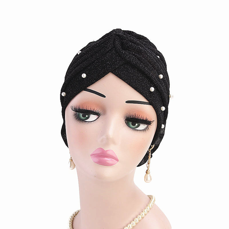 Muslim african women sparking turban with pearl-chemo cap-flower attached-6 colors JD-TJM-322A