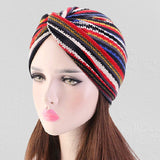 Muslim african women cotton bonnet turban--elastic chemo cap--strip printed--4 colors JD-TJM-211 TJM-211A
