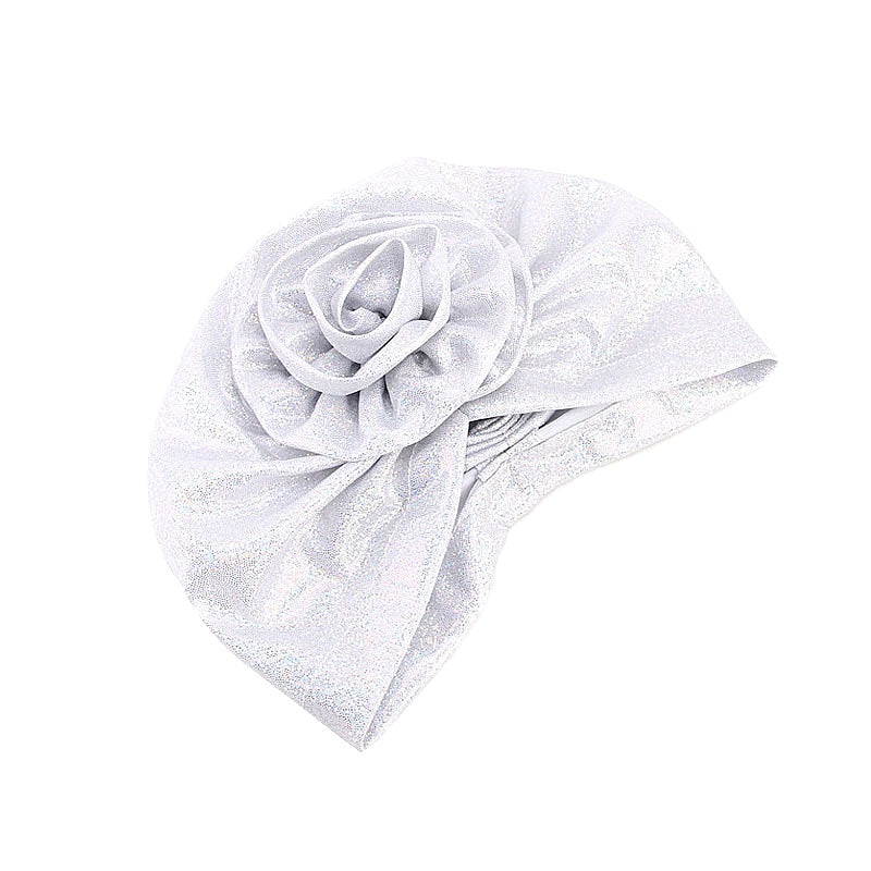 Muslim african women peal fabric turban-chemo cap-- flower attached--6 colors DJ-TJM-340