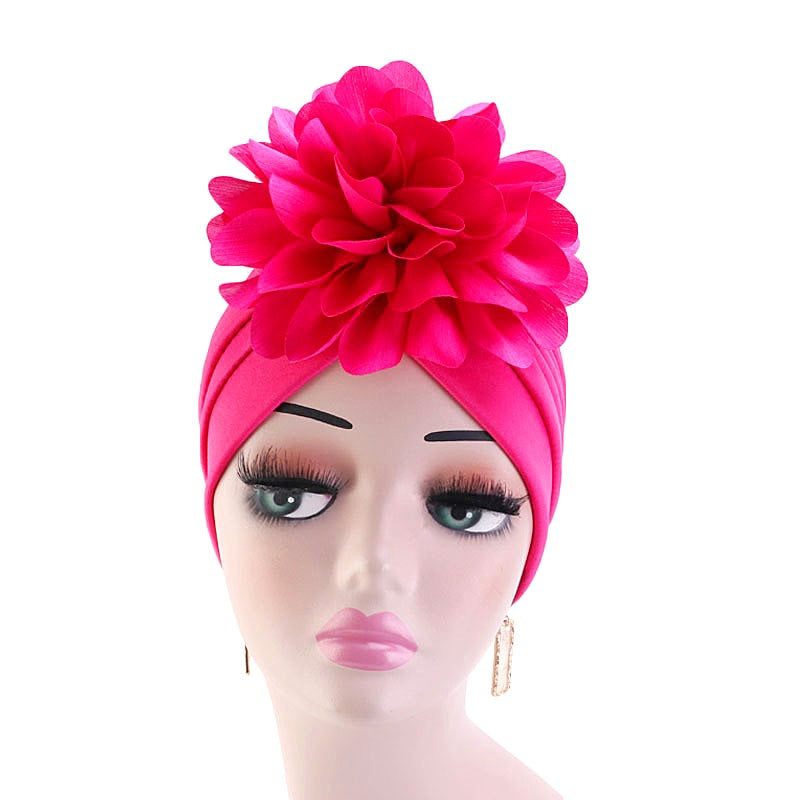 Muslim african women turban--chemo cap--flower attached--5 colors JD-TJM-24R