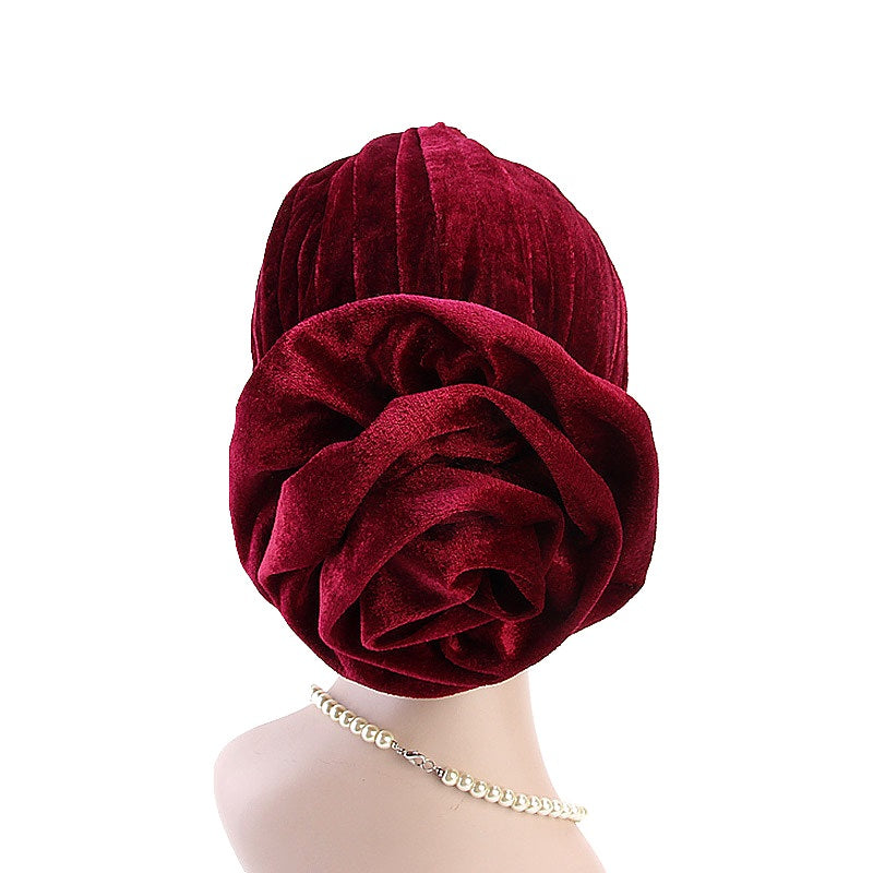 Muslim african women velvet turban-chemo cap--flower attached--8 colors JD-TJM-328A