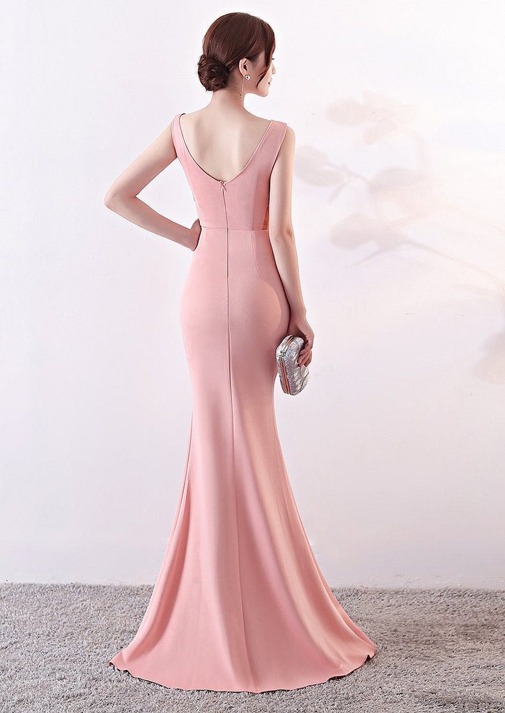 Pink--deep V--slopeing shoulder--sleeveless--long fish-tail fit party evening prom dress KLN-1260#-2