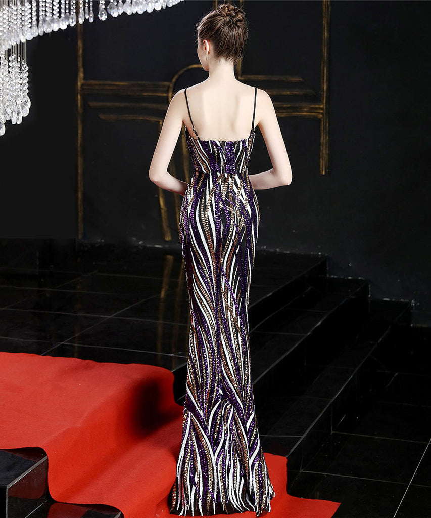 Purple--sleeveless--strip--sequins--long fish-tail party evening prom fit dress KLN-16002#-2