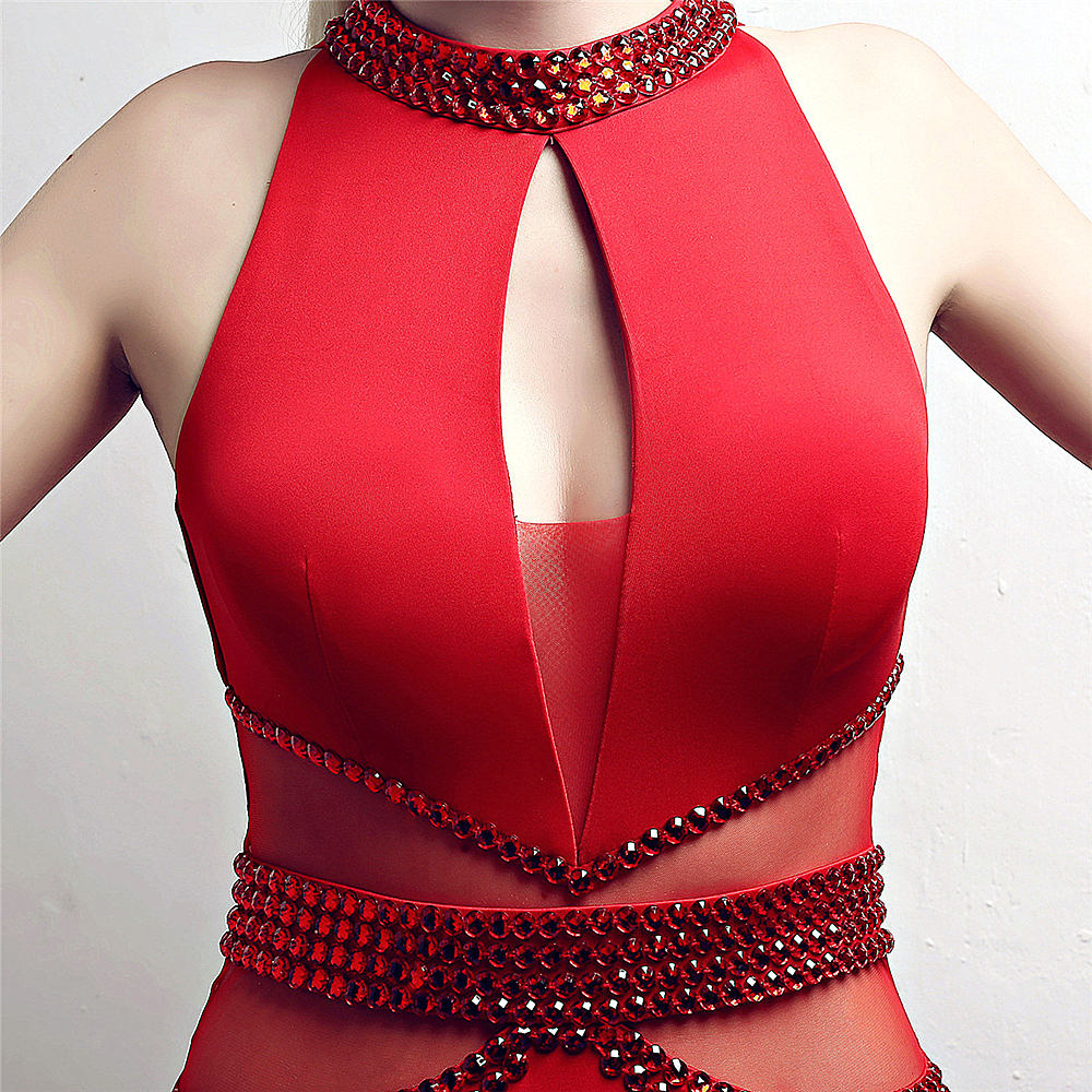 Red--beads--cut out--sleeveless--side slit--long fish-tail party evening prom fit dress KLN-1538#-3