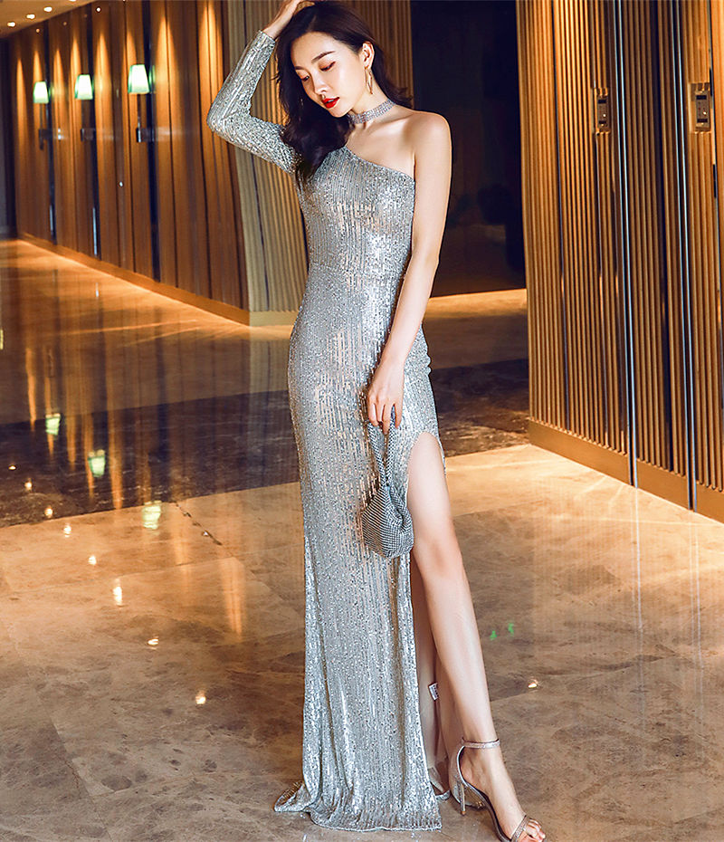 Long sheath sequins party prom dress--silver--side slit--one long sleeves--KLN-16511#-5