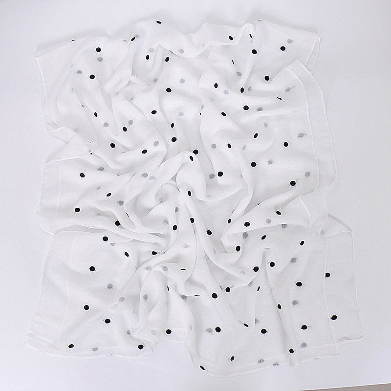 White--flower-embroidered--cotton scarf,shawl, muslim hijab AW-VS125