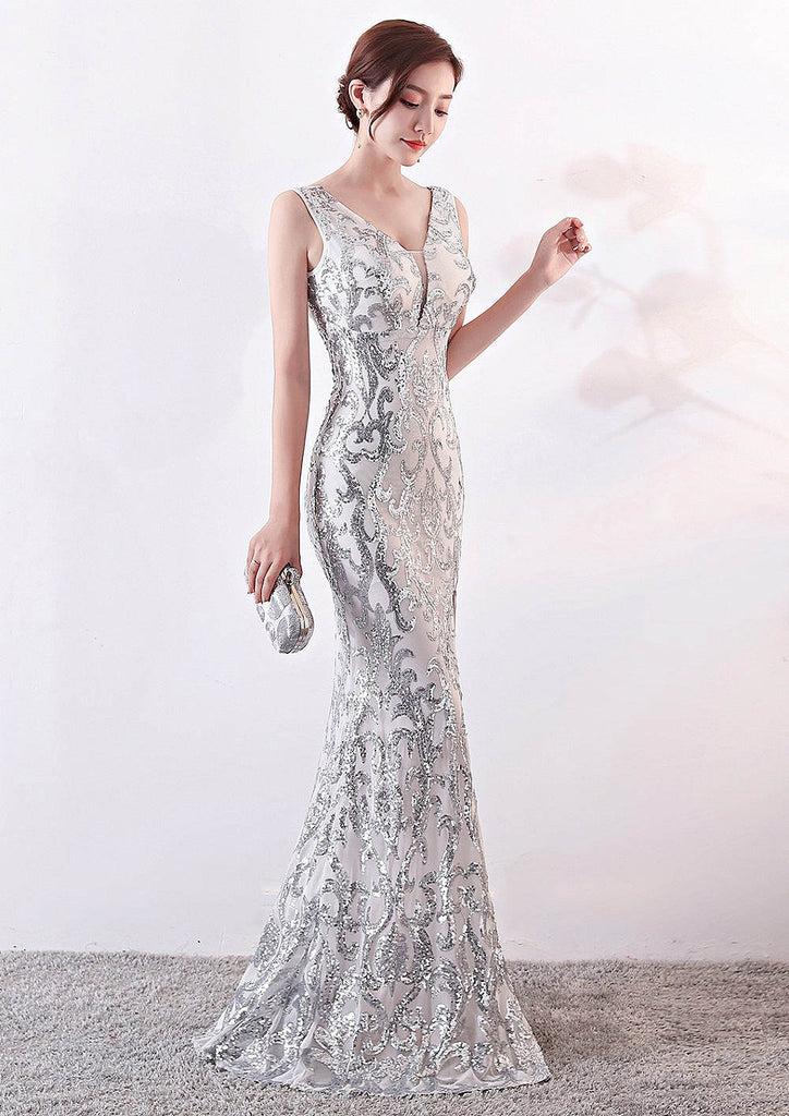 white long fish-tail sheath party prom dress--silver sequins--side slit--sleeveless--KLN-1202#-1